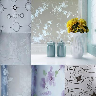 Door Frosted Opaque Flowers Privacy Adhesive Window Film Glass Sticker Grille