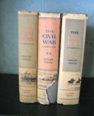 THE CIVIL WAR:  A NARRATIVE 3 Volume Set by Shelby Foote - HC/GC