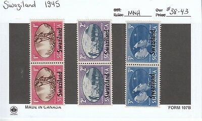 Stamps - Swaziland 1945 Lot of 6 - #38-43 - MNH Mint Never Hinged