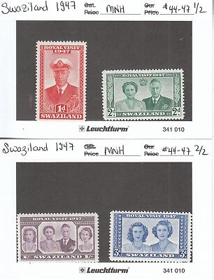 Stamps - Swaziland 1947 Lot of 4 - #44-47 - MNH Mint Never Hinged