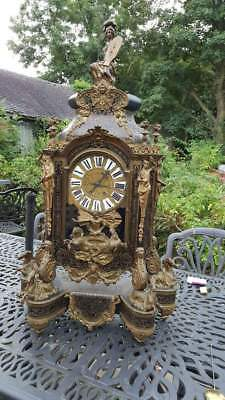 Huge Antique French Boulle Bracket Clock Ormolu Horses Minerva Neptune C1890
