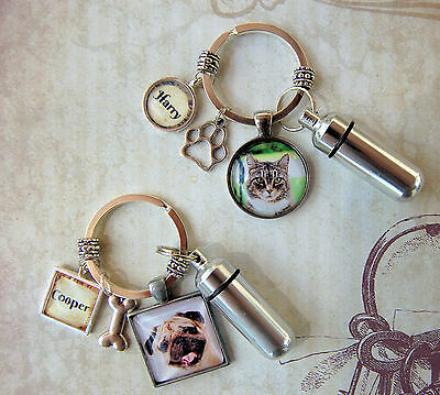 Pet Memorial Key Ring and Custom Photo and Cremation Urn Loss of Cat or Dog