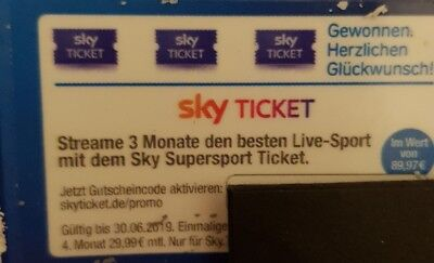 Sky Supersport 3 Monate Gutschein Bundesliga CL DFB Pokal Wert 90€