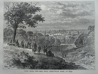 London GREENWICH PARK VIEW FROM ONE-TREE HILL 1846 Original Victorian Print 1878