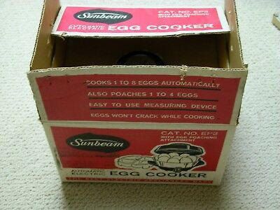 NEW Vintage Sunbeam Automatic Electric Egg Cooker Poacher NOS GLASS INSERT