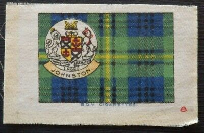 JOHNSTON Clan Tartan and Coat of Arms SILK card issued in 1922