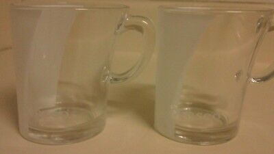 2 Coffee Cups Senseo Logo Eye Catching Wavy Glass Look 3 1/4""