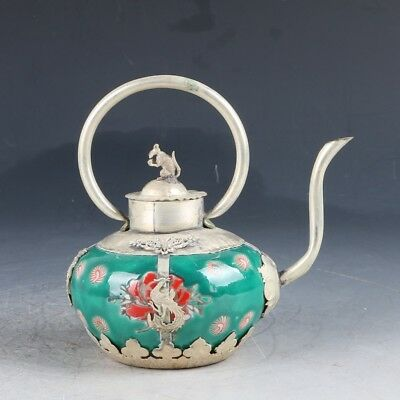 Chinese Crusted Silver Inlay porcelain Handwork Carved dragon Teapot GL220