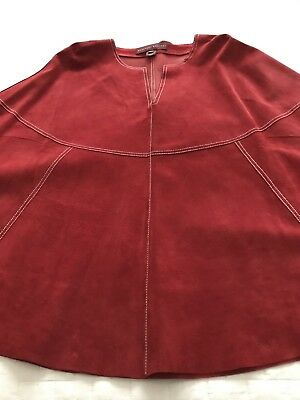 Women's Red Large Suede/Leather Christmas Poncho