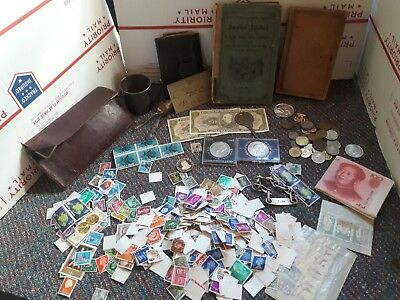 Junk Drawer Lot stamps, coins, old books, tokens and more!