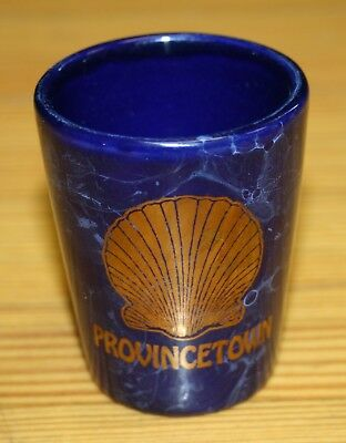 Vintage Shot Glass Provincetown  Blue Marbled Gold Shell Massachusetts