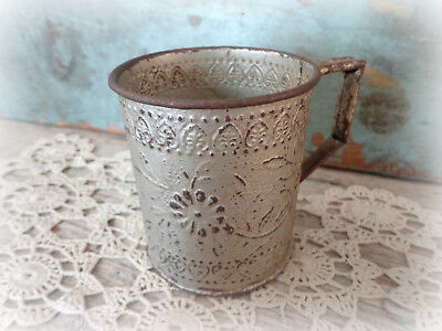 early primitive tin cup antique vintage kitchenware embossed hearts flowers