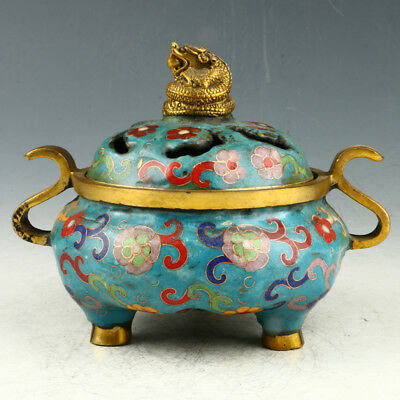 Chinese Exquisite Cloisonne Hand Carved Dragon Incense Burner AAA0092