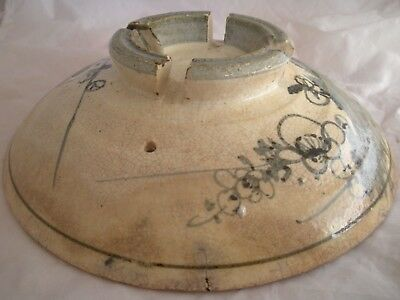 (*_*) Southeast Asia Footed Stoneware Iron Black Painted Bowl Drip Hole Tray