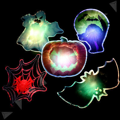 Halloween LED Flashing Light Up Spider Web Bat Clip Party Wall Window Shop Decor