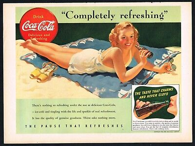 COCA COLA AD BEACH BATHING GIRL DECORATIVE Original 1941 Vintage Print Ad*Retro