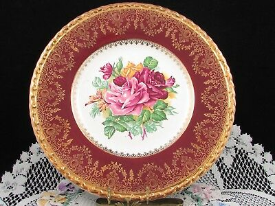 """T.g. Green & Co. Purple Roses Artist Signed Ornate Gold Red 11"""" Plate"""