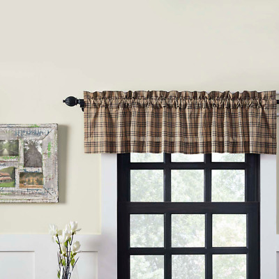 Sawyer Mill Plaid Cotton Rustic Country Cabin Lined Window Valance