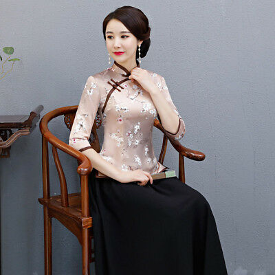 29c7317889126 Plus Size 4XL Chinese Women s Silk Satin Shirts Blouse Cheong-sam Collar  Tops