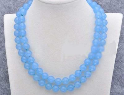 AAA 10mm Blue Chalcedony Gemstone Round Necklace 35 Inch