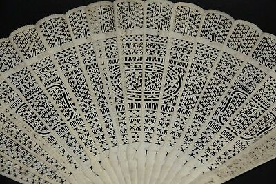 Very Finely Carved Bovine Bone Chinese Fan - Amazing Example - Very Rare - L@@k