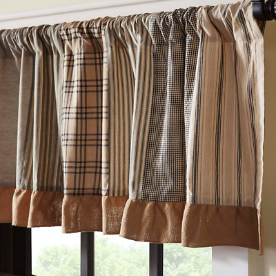Sawyer Mill Charcoal Patchwork Cotton Rustic Country Cabin Lined Window Valance