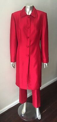 Silk Two 2 Piece Ruby Red Long Jacket Coat Pencil Pants Formal Suit Size S 4