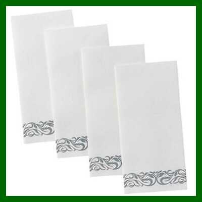 Superior Quality Decorative Linen Feel Hand Towels By – SILVER Floral Disposable