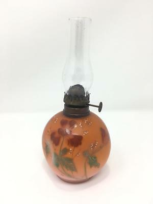 **UNUSUAL Hand Painted MOP Apricot Orange Miniature Glass Oil Lamp - WOW**