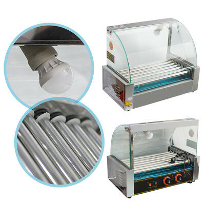 Kitchen Commercial Electric 18 Hot Dog 7 Roller Grill Cooker Machine 1050-Watt