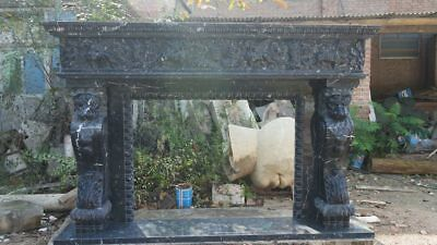 Hand Carved Black Marble  Lions Fireplace Mantel Ornate Carvings,86'' x 58''