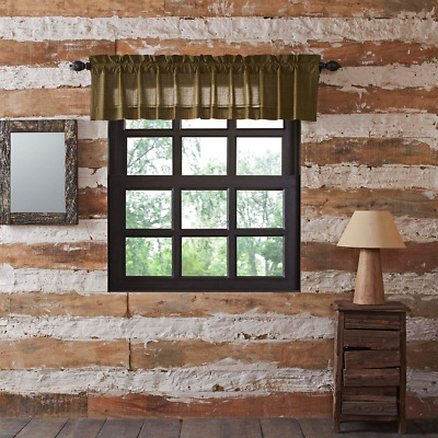 Tea Cabin Green Plaid Cotton Rustic Country Cabin Lined Window Valance