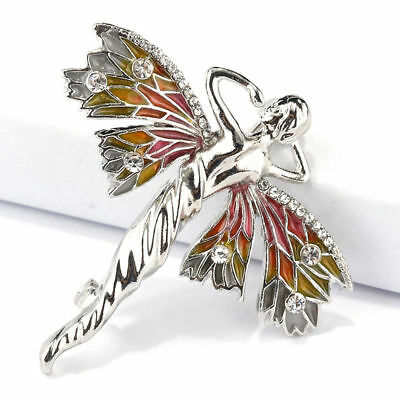 Fashion Women Enamel Crystal Dragonfly Fairy Elf Angel Brooch Pins Accessories