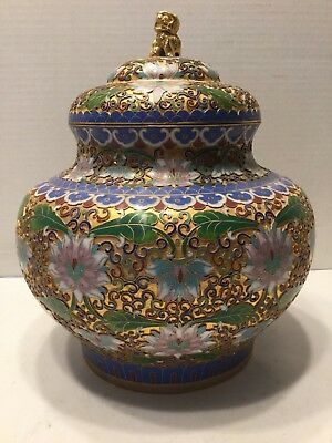 Vintage Chinese Enameled Cloisonne Ginger Jar With Stand