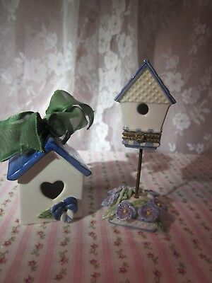 sweet set of two mud pie blue white pansy birdhouses