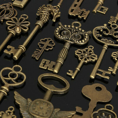 AU 69pcs/Set DIY Antique Vintage Old Look Bronze Skeleton Keys Fancy Pendant