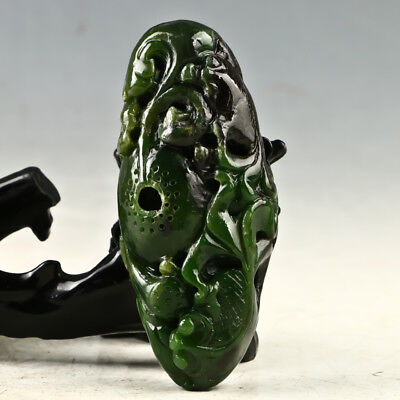 Chinese Exquisite Hand-carved The goldfish  carving Hetian jade statue GL1158