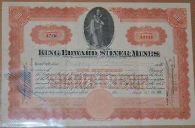 King Edward Silver Mines 1909 antique stock certificate