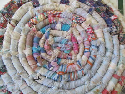 Primitive Rag Rug Basket Blue Red White Multi w/ Wooden Handles & Geese Family!