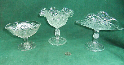 Vintage Clear Glass Candy Dishes on Pedestal- Lot of THREE