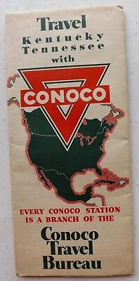 VINTAGE 1934 CONOCO MAP OF KENTUCKY TENNESSEE Gas & Oil radio station list