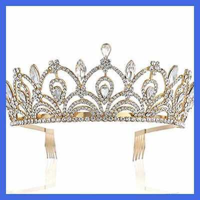 Queen Tiara W Comb Crystal Crown For Bridal Women Girls In Wedding Quinceanera B