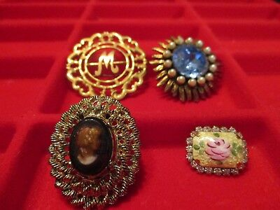 "Lot Of Four Vintage Costume  Brooches / Pins:  Cameo; ""m"";  Enamel; Sunburst"
