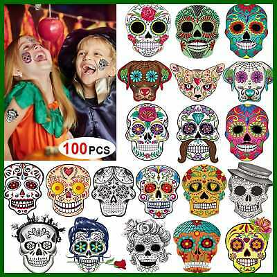 Day Of The Dead Sugar Skull Tattoos 100Counts Halloween Temporary Face Puppy BLA