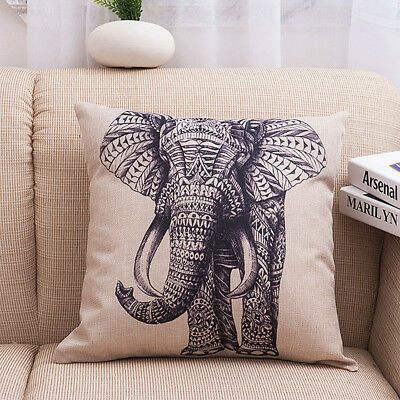 New Linen Cotton Sketch Elephant Pattern Pillow Pillowcase Sofa Cushion Cover