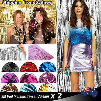2PCS 2M Metallic Tinsel Curtain Foil Party Christmas Door Decoration Shiny Tinse