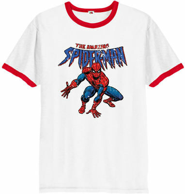 Spiderman T-Shirt,The Amazing Spiderman,Marvel Comics Gift Unisex Ringer Top