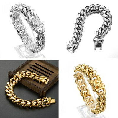 8mm-18mm Mens Miami Cuban Link Bracelet Bangle 18k Gold Plated Stainless Steel
