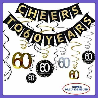 60Th Birthday Party Decorations Kit Cheers To 60 Years Banner 12Pcs Sparkling Ha