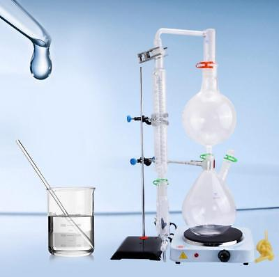 New 2000ml Lab Essential Oil Steam Distillation Apparatus w/Graham Condenser AU1